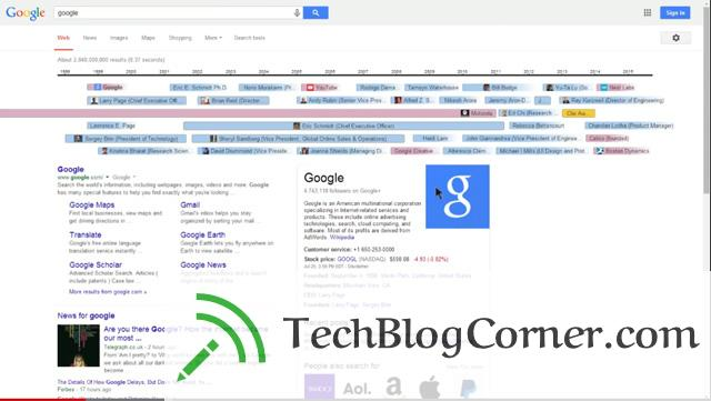Google Knowledge graph timeline version