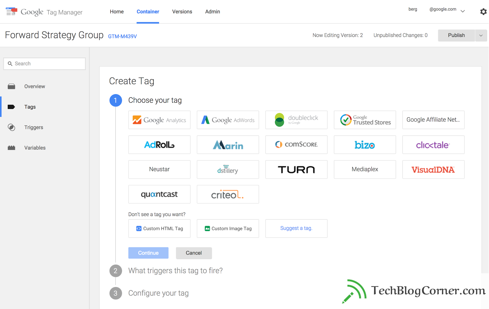 Step 2 - New Tag manager- techblogcorner