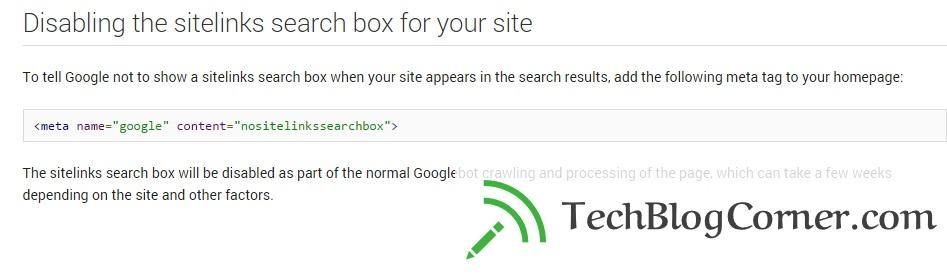 News : Google's Adds New nositelinkssearchbox Meta Tag