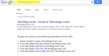 Info command in Google