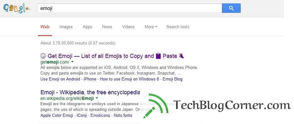 Emoji-inGoogle-Search-results-desktop-techblogcorner