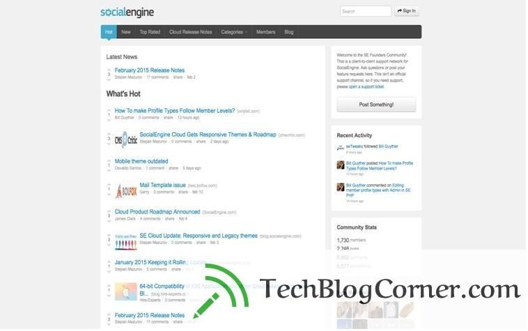 Socialengine Cloud active feed