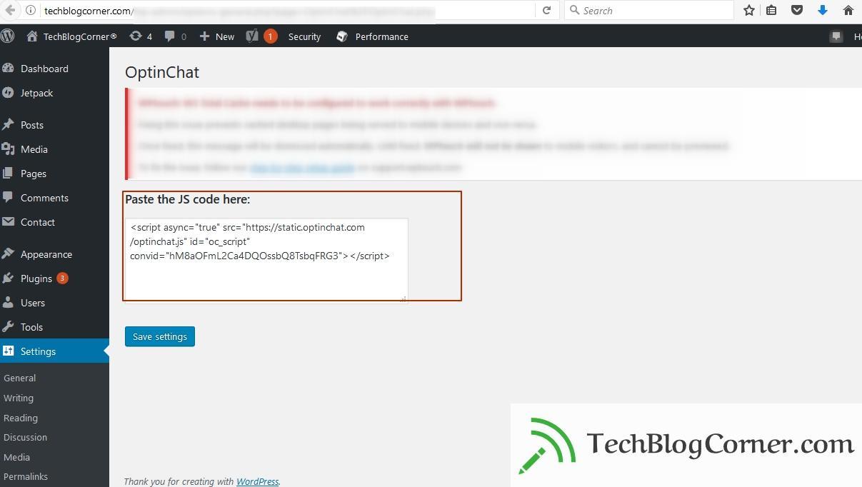 OptinChat ‹ TechBlogCorner® — WordPress