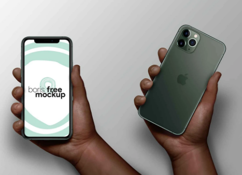 iPhone 11 in hand mockup