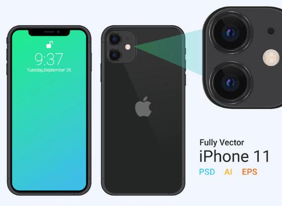 iPhone 11 vector mockup