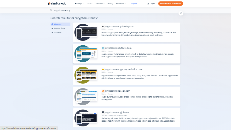 """Fig. Illustrating Similarweb's Search for """"Cryptocurrency"""" showing various sites for the same"""
